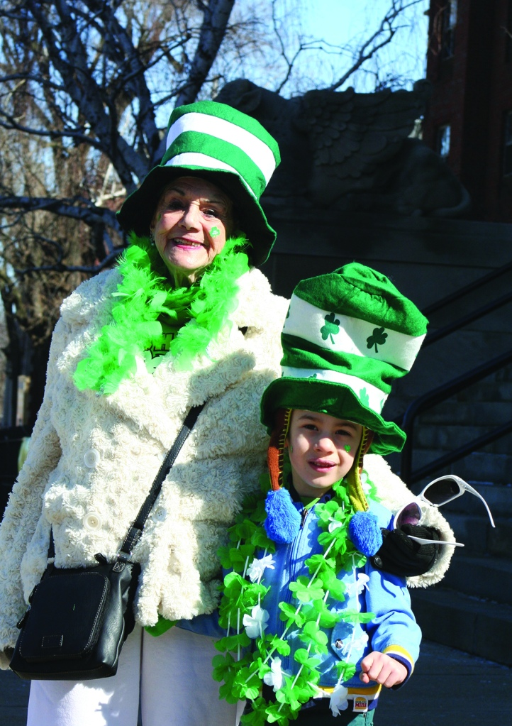 PHOTO BY CHUCK HOVEN Monday, March 17, 2014, St. Colman Church, 2027 W. 65th Street: Netta Norcia and her Great Grandson Sammy Cooper, age 5, are celebrating St. Patrick's Day together.