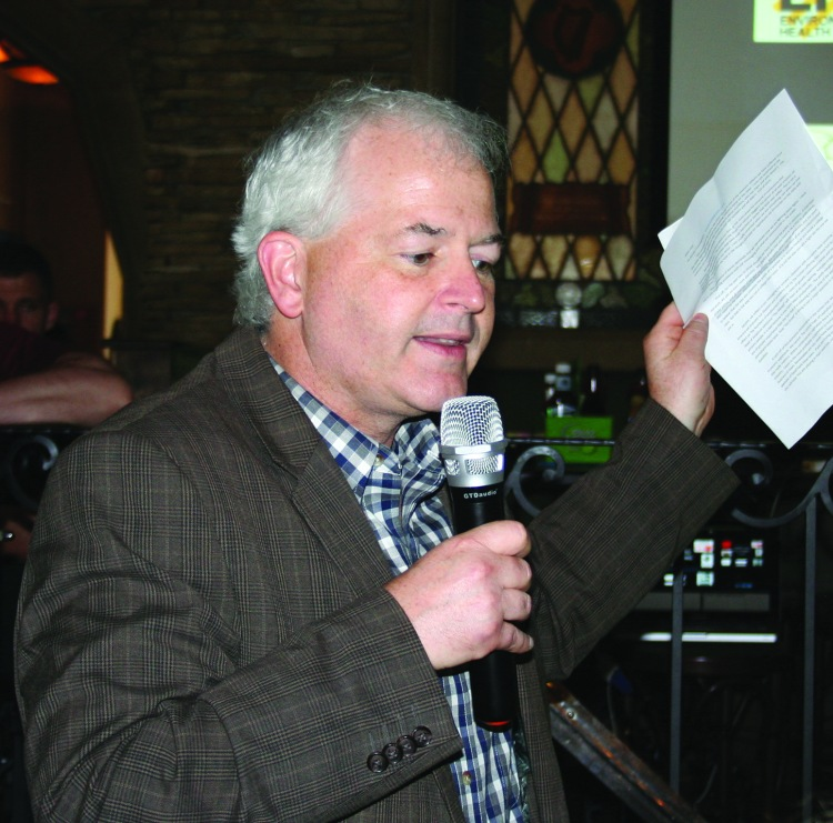 PHOTO BY CHUCK HOVEN Sunday, June 1, 2014; Cold Brews and Climate News, PJ McIntyres Irish Pub, 17119 Lorain Avenue: State Representative Mike Foley discusses the impact of pending state legislation on efforts to slow climate change.