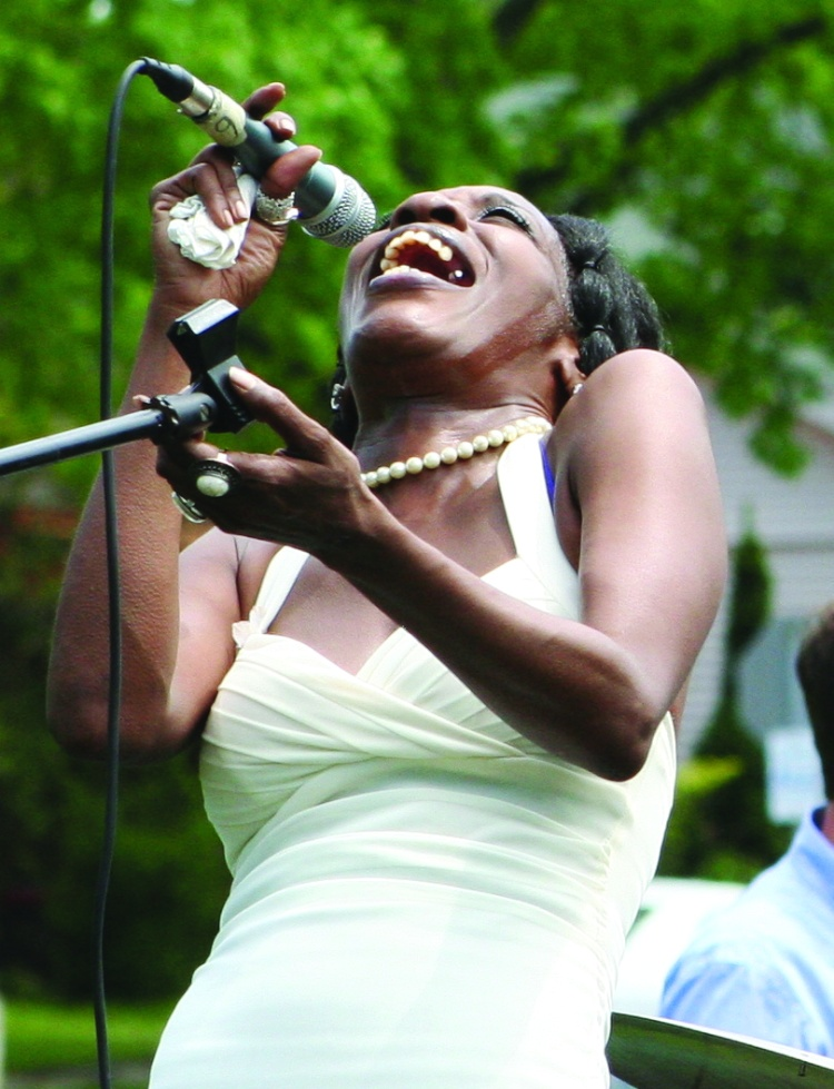PHOTO BY CHUCK HOVEN Sunday, June 1st, 2014; West Park Summerfest, Jefferson Park, Lorain Avenue between W. 133 & W. 134th Streets: Ree-C Pearl, belts out the blues, on stage with The Vernon Jones Blues Cartel.