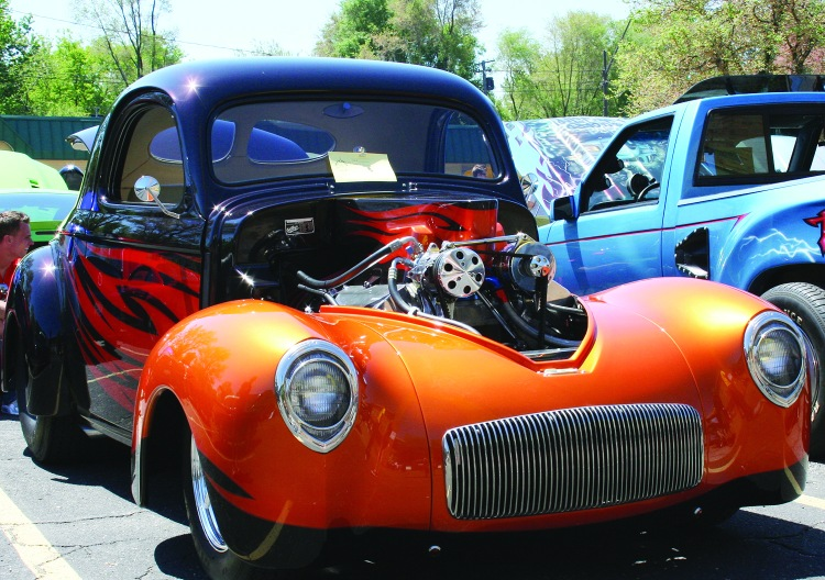PHOTO BY CHUCK HOVEN Saturday, May 24th, 2014; Car Show, Max Hayes Career and Technical High School, 4600 Detroit Avenue: This 1941 Willys Coupe is a colorful addition to the 2014 Max Hayes Car Show.