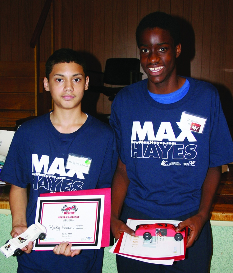 PHOTO BY DEBBIE SADLON Thursday, June 26, 2014, Max Hayes Career and Technical High School Take it to the MAX! Summer Camp 2014 Pinewood Derby Championship, 4600 Detroit Avenue: (L-R): Winner of the fastest car competition Ricky Vinson III and winner of the distance competition Shaqwon Badley.