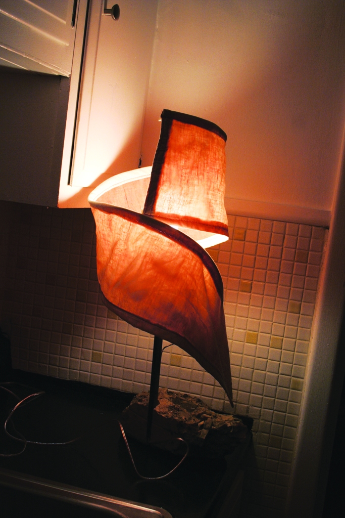 PHOTO BY CHUCK HOVEN Friday, December 12, 2104; Tremont Art Walk, Patsy Kline's Gallery U, 2338 Scranton Road: A Lamp by Andrew Kaletta with a concrete base.