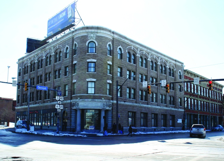 PHOTO BY CHUCK HOVEN Friday, February 20, 2015; Forest City Savings and Trust Building, 1400 W. 25th Street: The Snavely Group plans to convert the upper floors of this historic building to affordable apartments as part of a plan to redevelop the corner of W. 25th and Detroit Avenue.