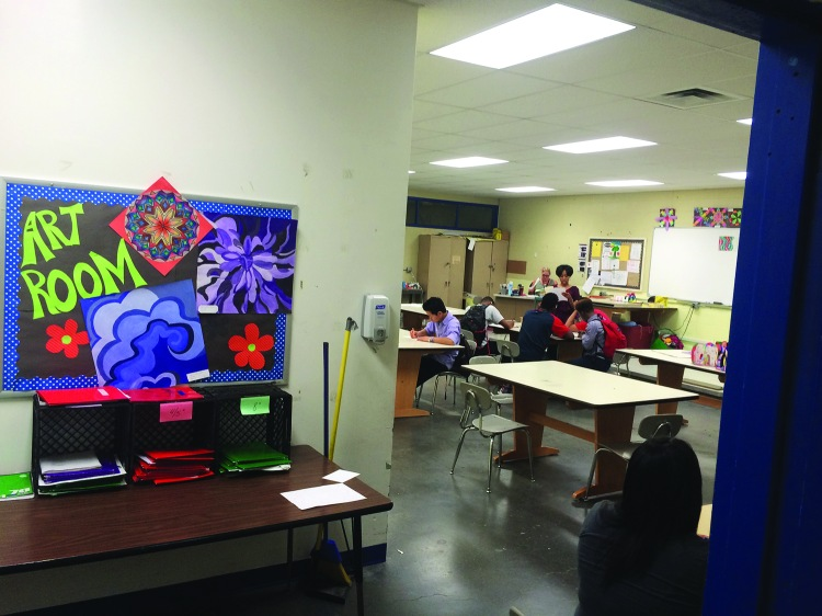 An art teacher was forced to move into a windowless, basement classroom after her room was damaged by water leaks.