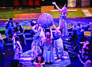 "PHOTO BY CORY MARKOWITZ Near West Theatre, 6702 Detroit Avenue: Cast members of Near West Theatre's production of HAIR: The American Tribal Love-Rock Musical rehearse the opening scene of the play to the music of ""Age of Aquarius."" The musical, which runs until August 9th, closes Near West Theatres' first season in its new performance space."