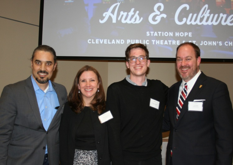 PHOTO BY CHUCK HOVEN Tuesday, March 22, 2016, Ohio City Incorporated (OCI) Annual Meeting, Urban Community School, 4909 Lorain Avenue: (L-R): Cleveland Public Theatre Executive Artistic Director Raymond Bobgan, OCI Board President Erika McLaughlin, St. John Episcopal Church 's Station Hope Project Director Timothy Holcomb, and OCI Executive Director Tom McNair. Cleveland Public Theatre and St. John's Episcopal Church were awarded the Arts and Culture Award for the Station Hope celebration.