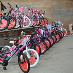 24 bicycles were donated for a drawing that took place after the bike-a-thon's ride through the neighborhood.