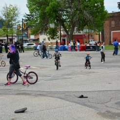 Children of all ages enjoy riding their bicycles through the Clark School parking lot.