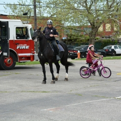 Cleveland Police Mounted Unit officer, Office Seiger get's 14-year-old Mandy to dance the Cleveland Shuffle.