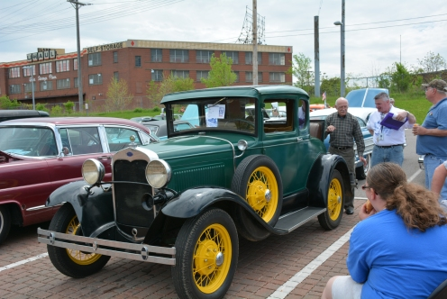 Ralph Vicario and his 1930 Ford Deluxe gets a taste of the car show world at their first car show.